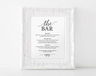 Bar Menu Sign, The Bar Sign, Wedding Bar Menu Printable, Wedding Sign, Wedding Bar Sign, Drink Menu, PDF Instant Download #BPB310_58