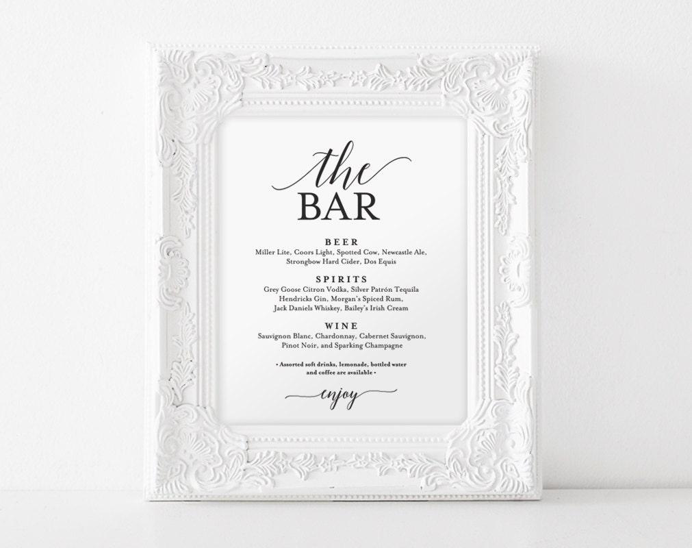 Wedding bar menu | Etsy