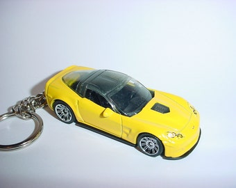 New 3D Yellow Chevrolet Corvette ZR1 Custom Keychain keyring key chain by Brian Thornton
