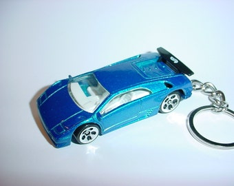 3D Lamborghini Diablo custom keychain by Brian Thornton keyring key chain finished in blue color trim diecast metal body