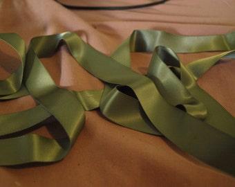 2 Metres of Mid Green Satin Ribbon 17 mm