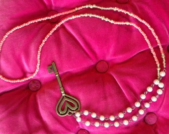 Key to my heart pink coral and pearl necklace