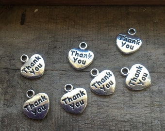 Antique Silver Heart Thank You Charms - Pendants, Wedding, Event Bonbonnierre Charms