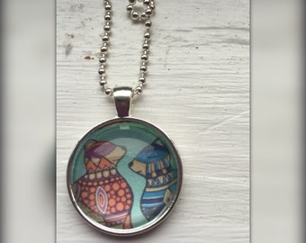 Two Cats Art Pendant and Chain Necklace- Original Painting Domed Glass Silver Pendant Handmade