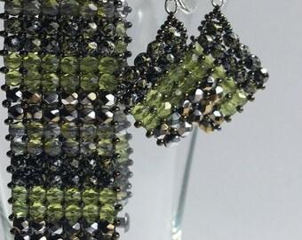 Green Beadwoven Bracelet- Modern Style Beaded Bracelet- Beaded Set- Beadwoven Set- Free Shipping US only