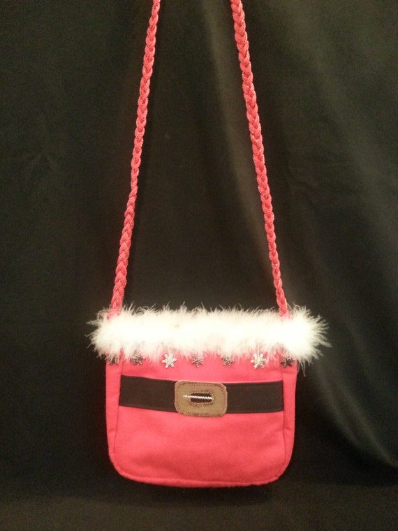 Small Handmade Santa Purse W/Silver snowflakes/silver/iridescent Bead Mix Trim