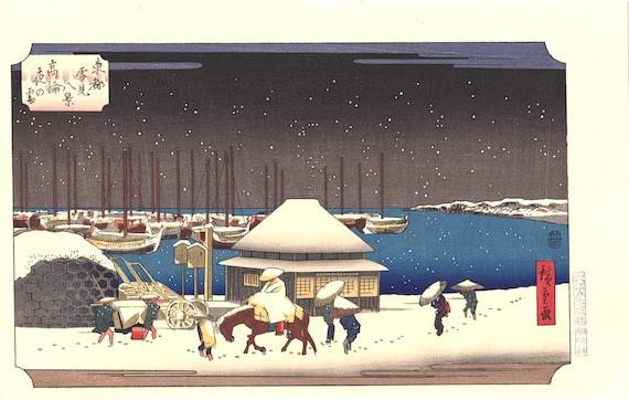 "Japanese Ukiyo-e Woodblock print, Hiroshige, ""A Snow Evening at Takanawa"""
