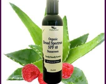 Organic Sunscreen w/ Broad Spectrum Protection, All Natural Sunblock, Vegan Sun Tan Lotion SPF 40-Lightweight Moisturizer