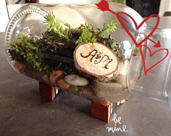 Personalized gift/Live Moss Terrarium/ indoor garden/rocks garden/with handmade wood stand/Valentine's gift/moss garden/terrarium