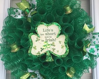 St. Patrick's Day Dark Green Mesh Wreath