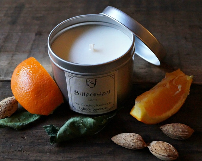 """Soy Candle. Sweet Orange Almond, """"Bittersweet"""", 6oz, Tin candle, Scented Candle, Home Decor, Natural Scent, Luxury Favors, Wedding"""