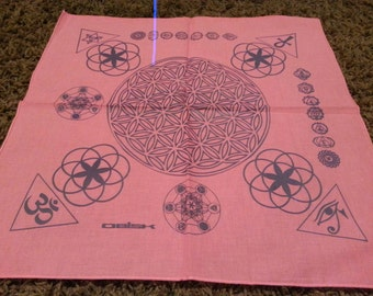 Pink bandana with sacred geometry done in purple