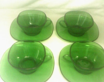 Cups and Saucers Vereco Green Set of 4