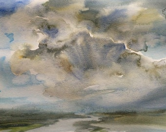 Sky painting, cloud painting, storm clouds, stormy skies, storm cloud art, cloud art, watercolor clouds, watercolor sky, sky watercolor