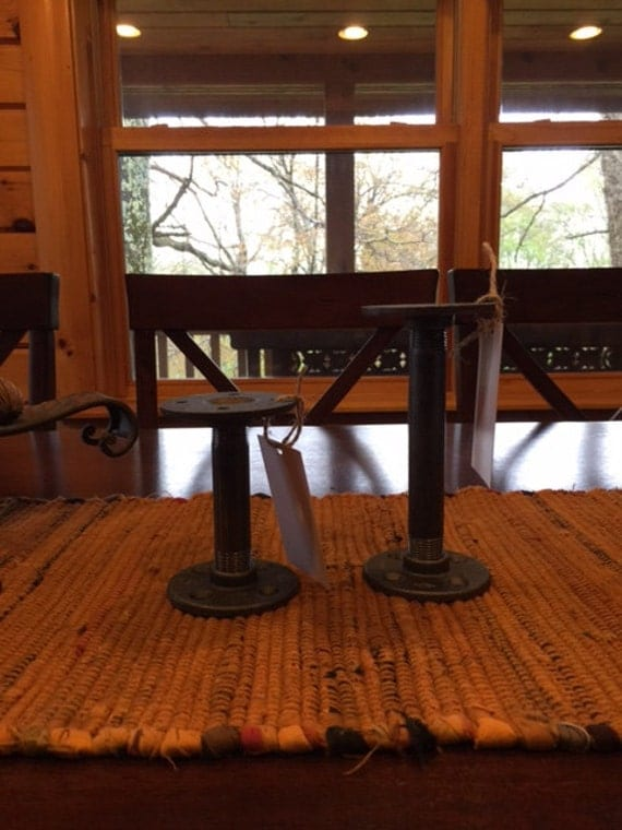 Industrial Candle Holder made from black iron pipe fittings - Set of 2