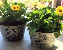 Galvanized Garden Tub, Flower Pot, Deer Decor, Firefly Decor, House Warming Gift, Wedding Gift, Front Porch Decor, Summer Decor, Planter