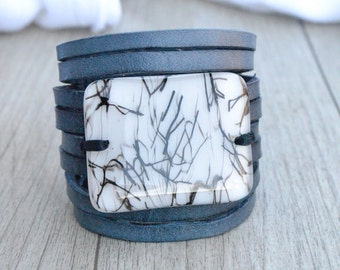 Leather Cuff for Scarf , Infinity Scarf Accessory, Leather Bracelet