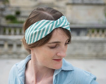 Headband in cotton patterned stripes or pineapple