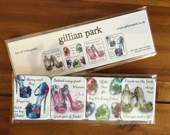 Pack of 4 Magnets - Shoe Sayings