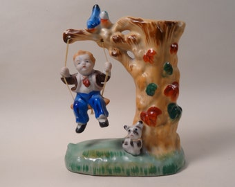 SALE!  REDUCED PRICE!  Ceramic Boy on Swing Figurine/Vase made in Japan