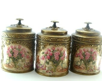 Canisters, Kitchen Canisters, Canister, Hand Painted Canister  with Golden relievo, Vintage Canisters, Kitchen Storage, Retro Canisters