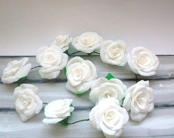 Wedding Arch Garland,White Paper Flower Garland,White Rose Garland,Party Decoration,Bridal Crepe Paper Rose Flower,White Paper Flower