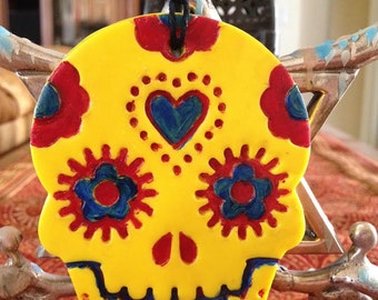 Polymer clay Day Of The Dead ornament