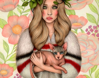 Custom Portrait Illustration with a pet - digital file / made to order