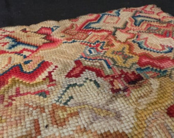 Vintage Abstract Latchhook Embroidered Wall Hanging Textile Art Piece