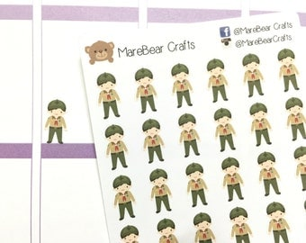 30 Boy Scout Stickers! Perfect for your Erin Condren Life Planner, Filofax, Plum Paper & other planner or scrapbooking!