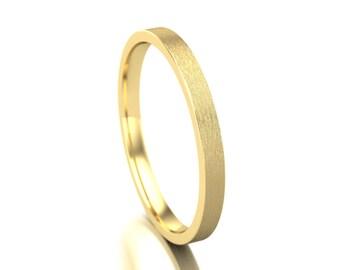 10k Solid Yellow Gold Wedding Band, Satin Finish Band, Matte Wedding Band, Light Brushed Wedding Band, 2mm, Matte Finish Flat Band
