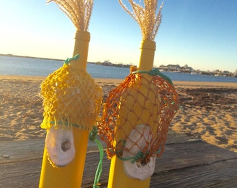 Yellow Wine Bottle Vase Pair of  Hand Painted Yellow Wine Bottle Vases Candlestick Holders Centerpiece with Oyster Shells and Fishing Net