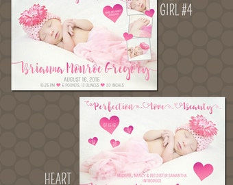 Hot Pink Heart Baby Girl Birth Announcements Photos Printable Uprint Digital Printed * 5 designs *
