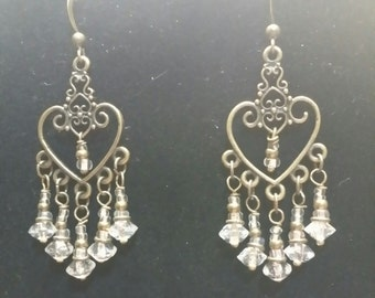 brass chandelier earrings with clear crystals