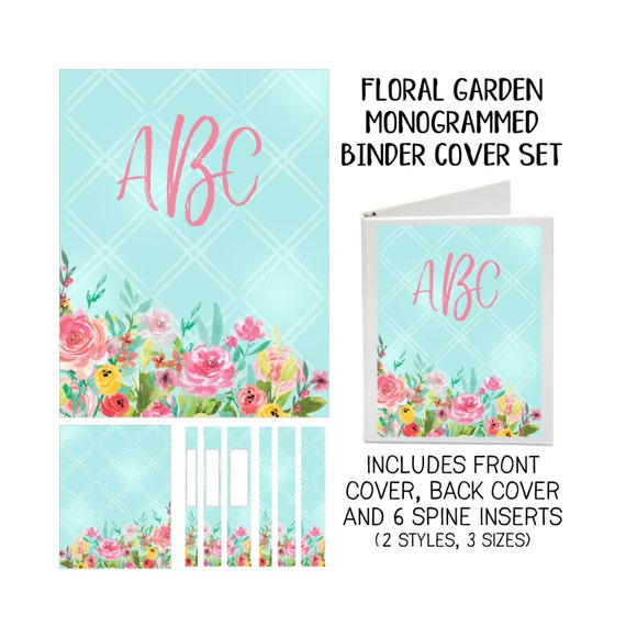 Floral Garden Personalized Printable Binder Covers - Front & Back Covers and Spine inserts - Dress up Your Three Ring Binder!