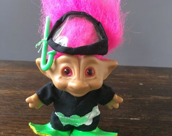 Ace Novelty Scuba Diver Troll / Jewel Belly Pink Hair / Vintage Fad Toy