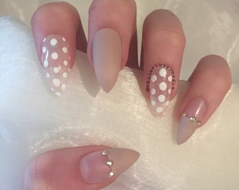 Burgundy matte stiletto nails with rhinestone by ...