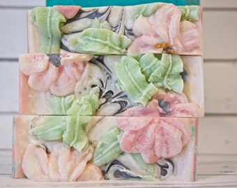 Rice Flower and Shea Rice Milk Cold Process Artisan Handmade Soap /  Handmade / Palm Oil Free / Made in USA