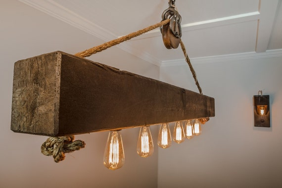 5 Ft Rustic Beam Edison Bulb Chandelier With Vintage Barn