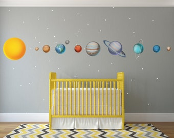 Huge Solar System Wall Decals / Huge Solar System Vinyl Wall Decals /  Realistic Solar System / Realistic Planet Wall Decals - WDSET10019B