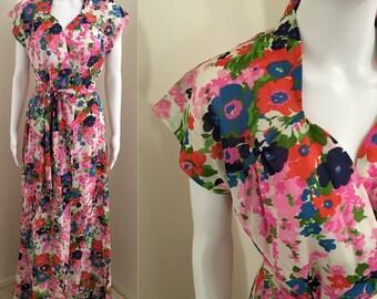Size 12/14 1970s flower power maxi wrap dress cotton voille