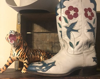Vintage wingtip cowgirl boots/Birds/Flowers/ACME/SIZE:7