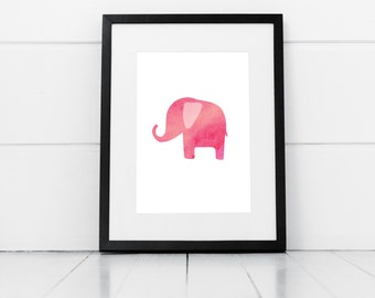 Pink Elephant Print, Digital Print, Watercolour Elephant, Nursery Print