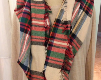 Red and Neutral Fall Scarf