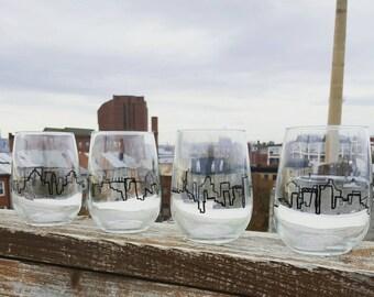 Set of 4 city skyline painted wine glasses
