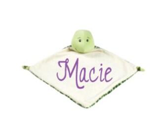 Monogram Security Blanket Personalized Security Blanket Embroidered Security Blanket Baby Snuggle Blanket Baby Snuggle Animal Turtle Blanket