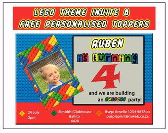 LEGO themed party invitation-Includes FREE personalised toppers.