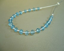 London Blue Topaz Faceted Rondelle Beads Set of 21