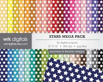Stars Mega Pack Seamless Digital Paper Pack, Digital Scrapbooking, Instant Download, Geometric Patterned Paper