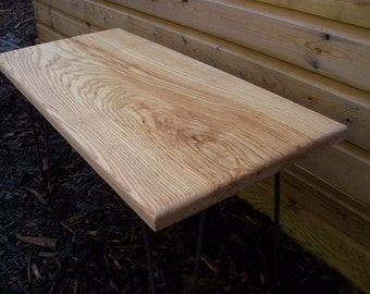 Beautiful Ash table,  not oak solid wood plank,  coffee table on hairpin legs